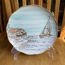 InHomestylez Coastal Sketchbook Beach Sailboat Salad Plate Replacement NWT - $17.82