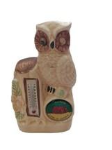 Vintage Ceramic Owl Thermometer Figure Illinois Land Of Lincoln Souvenir  - $12.87