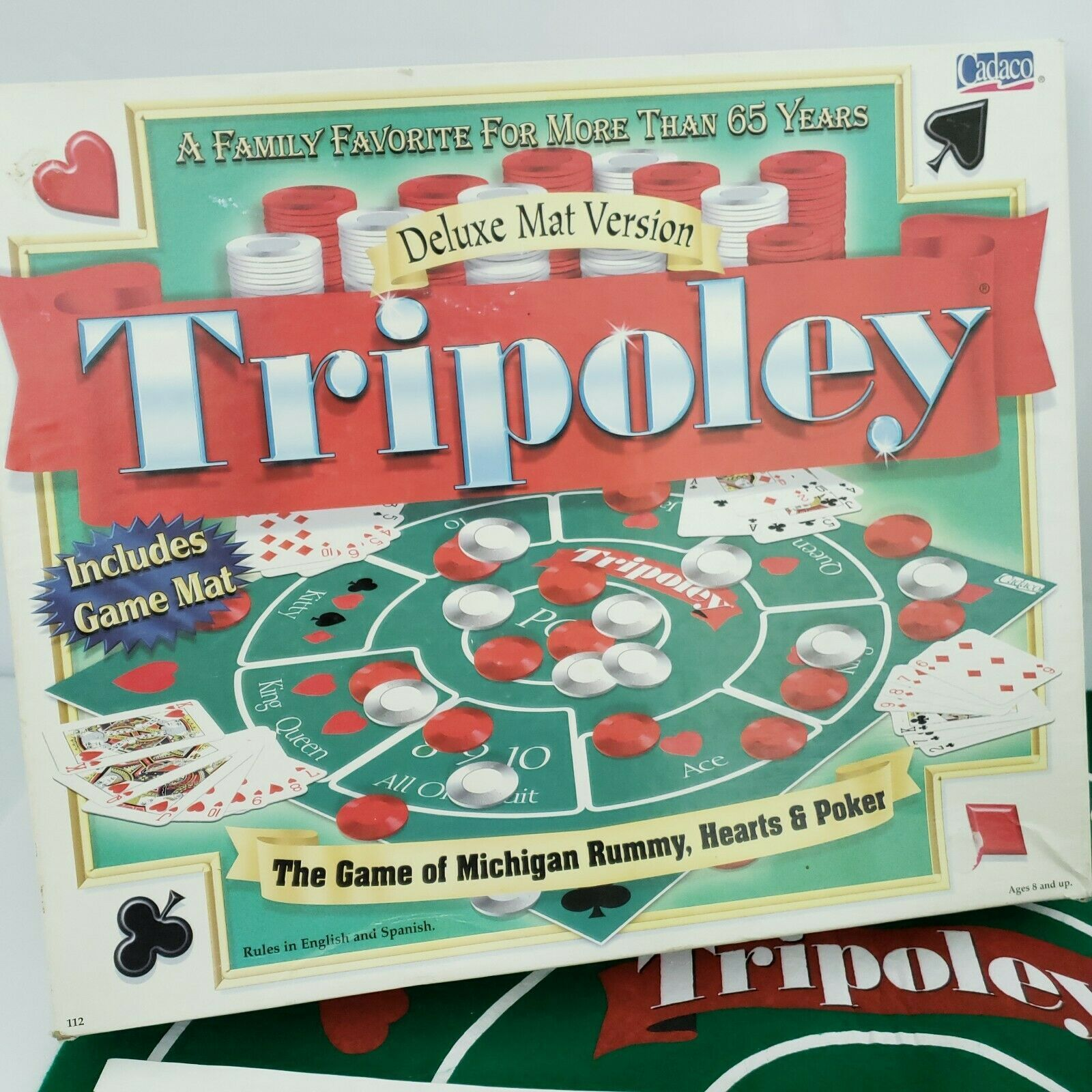 Tripoley Board Game Deluxe Mat Version Cadaco 2-9 Players Vintage 1999 Complete image 2