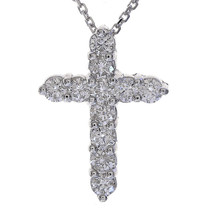 "0.90 Carat Round Diamond Cross on 16"" Cable Chain 14K White Gold - $741.51"