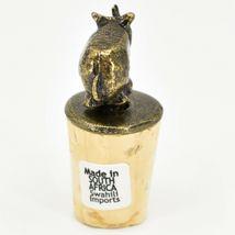 South African Cast Metal w Antique Brass Finish Rhino Wine Bottle Cork Stopper image 4