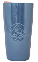 Starbucks 12 Oz Ceramic Tumbler Periwinkle Glossy Blue Neon Pink Peach L... - $39.50