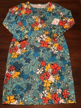 NWT LuLaRoe XL Bright Blue Floral Debbie Long Sleeved Fitted Sheath Dress - $41.15
