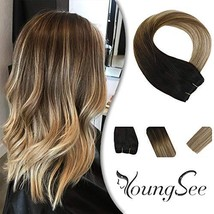YoungSee 14inch Human Hair Extensions Sew in Ombre Weft Darkest Brown Fading to