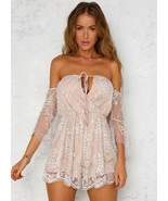 Romantic Beige Sequin Bling Bling Off Shoulder Boutique Jumpsuit Playsui... - $24.71
