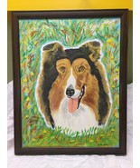 vintage painting of a collie folk art - $49.50