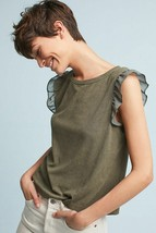 New Anthropologie Olive Green Ribbed Flutter Tee by Paper Crown $78 Size XS - $33.66