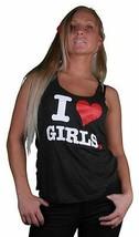 Tits I Coeur Amour Filles Noir et Blanc Débardeur Coton Cami T-Shirt