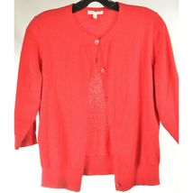 Eileen Fisher sweater M red cardigan 3/4 sleeves organic cotton cashmere blend image 8