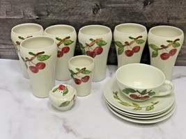 13 Pcs Vtg California Pottery Orchard Dinnerware Cherry Pattern Tumblers Cup  - $49.50