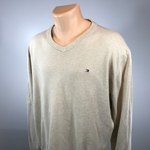 Tommy Hilfiger XL V Neck Sweater Style Mens Long Sleeve Beige Size XL Cotton - $18.56