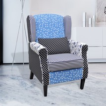 Patchwork Wingback Armchair Accent Chair Fabric Upholstered w/ Oak Feet ... - $151.99