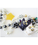 Sailor Moon Necklace, Artemis and Luna Figure, White and Grey Beaded Cha... - $42.00