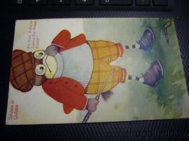 Vintage Golf Comic Postcard Frog image 1