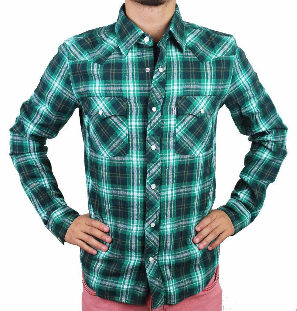 Levi's Men's Classic Western  Button Up Long Sleeve Plaid Green 3Lylw0062