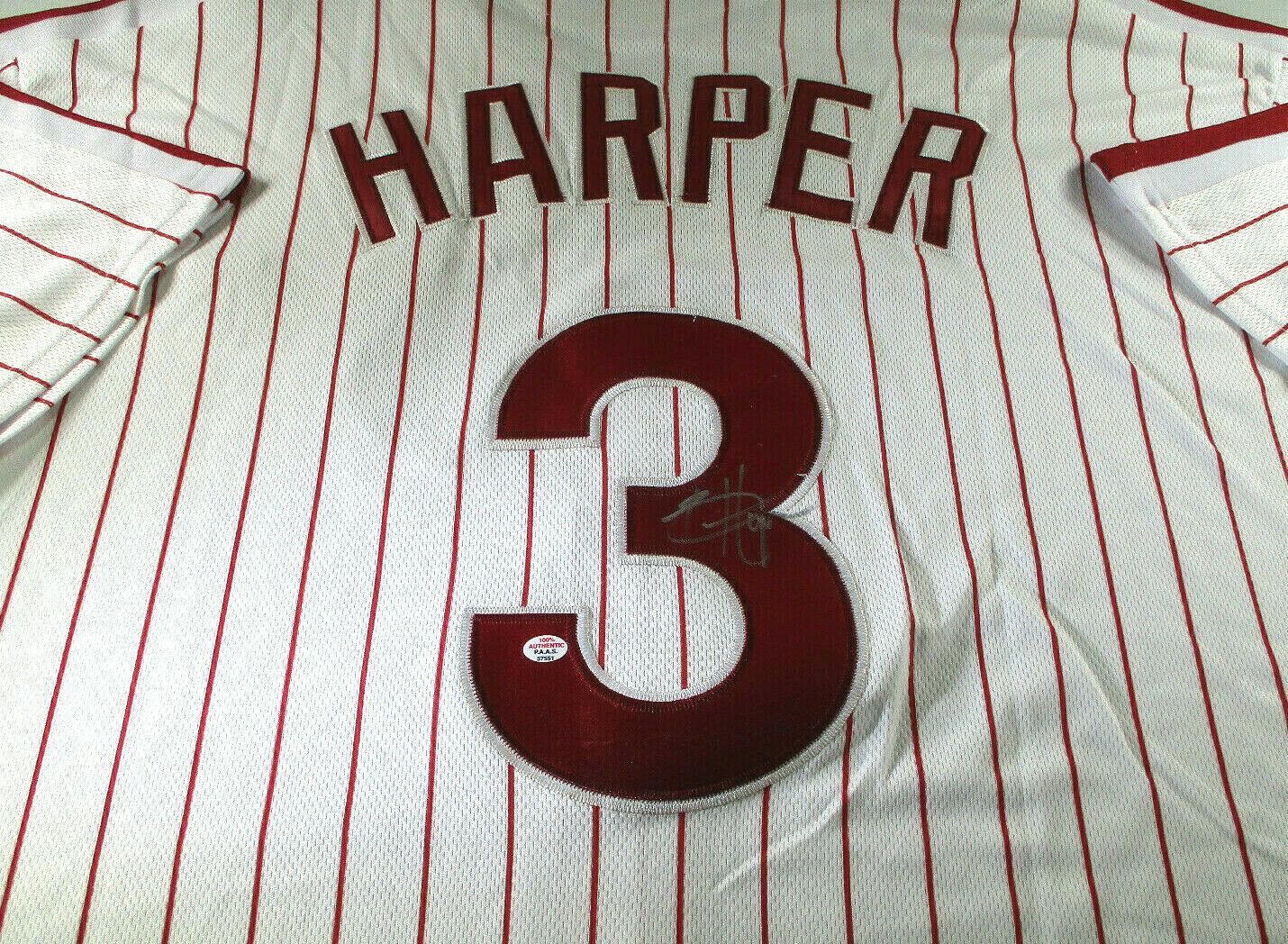 BRYCE HARPER / AUTOGRAPHED PHILADELPHIA PHIILLIES PRO STYLE BASEBALL JERSEY COA