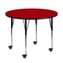 Offex 60'' Round Red Mobile Activity Table with Standard Height Adjustable Legs - $382.34