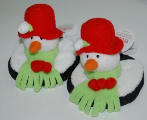 Carrie Olsen Garrard Snowman Plush Holiday Attachable Coasters Drink Wear 2 Set