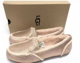 New UGG HAILEY ROSE GOLD Pink METALLIC SUEDE SHEEPSKIN MOCCASIN LOAFERS ... - $63.36
