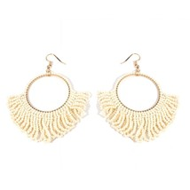 MANILAI Bohemian Beaded Dangle Earrings For Women Handmade Jewelry Seed ... - $12.84