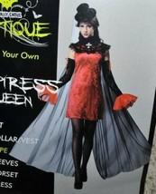 Womens Vampiress Queen Cape Black Red Long Veil Halloween Costume-size OS - $9.90