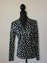 Laura Ashley Black White Polka Dot White Lightweight Jacket Shirt Full Zipper M - $18.00