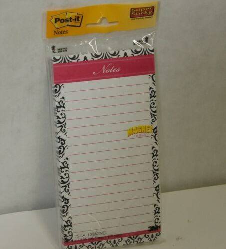 Postit Notes Magnetic  7366BBBWP 75 count 4 by 8 Inches Pink Top  Black White