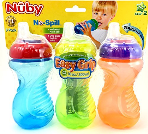 Nuby No Spill Easy Grip 10 Oz Sippy Cups 3 Pack