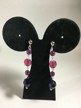"Fashion Earrings Clip or Pierced Purple Resin Chain Bead 3""  - $4.52"