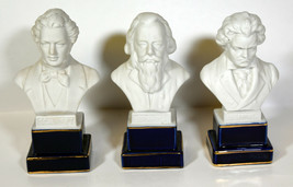 """6"""" Set 3 Porcelain Statues Brahms Schubert Beethoven Busts Great Office ... - $28.49"""
