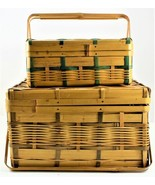 Bamboo Picnic Wicker Woven Fishing Basket Occupied Japan Mid Century Set... - $74.24