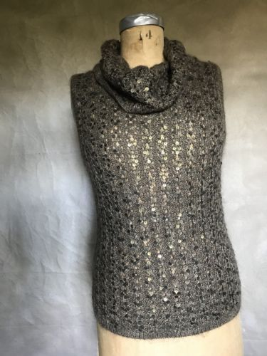 Primary image for Women's Silk/Mohair COWL Neck Sweater Brown SEQUIN Ellen Tracy LUXE Sleeveless S