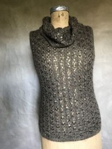Women's Silk/Mohair COWL Neck Sweater Brown SEQUIN Ellen Tracy LUXE Slee... - $43.47