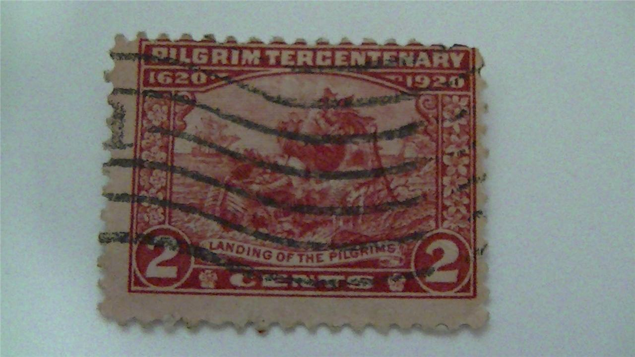 Pilgrim Tercentenary Landing of The Pilgrims Vintage USA Used 2 Cent Stamp