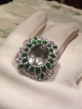 Genuine Green Amethyst Real Chrome Diopside Vintage 925 Sterling Silver ... - $183.15