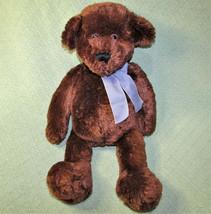 "22"" Animal Adventure Teddy Bear Stuffed Animal Brown With Blue Checked Ribbon - $23.38"