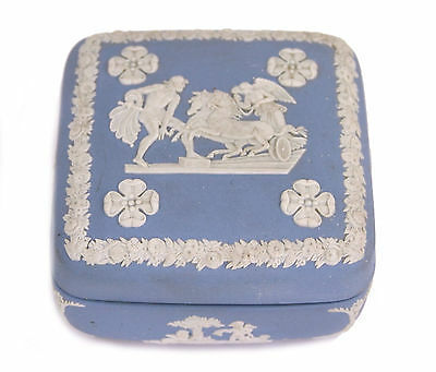 Wedgwood Blue Jasperware Square Ulysses Classical Chariot Race Trinket Box B12