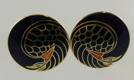 LAUREL BURCH Black Mynah Bird Vintage Clip-on EARRINGS - FREE SHIPPING - $30.00