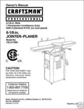 "Craftsman 6 1/8"" Jointer Operators Manual No.152.217060 - $10.88"