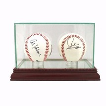 Glass Double Baseball Display Case with Cherry Wood Molding - $39.98