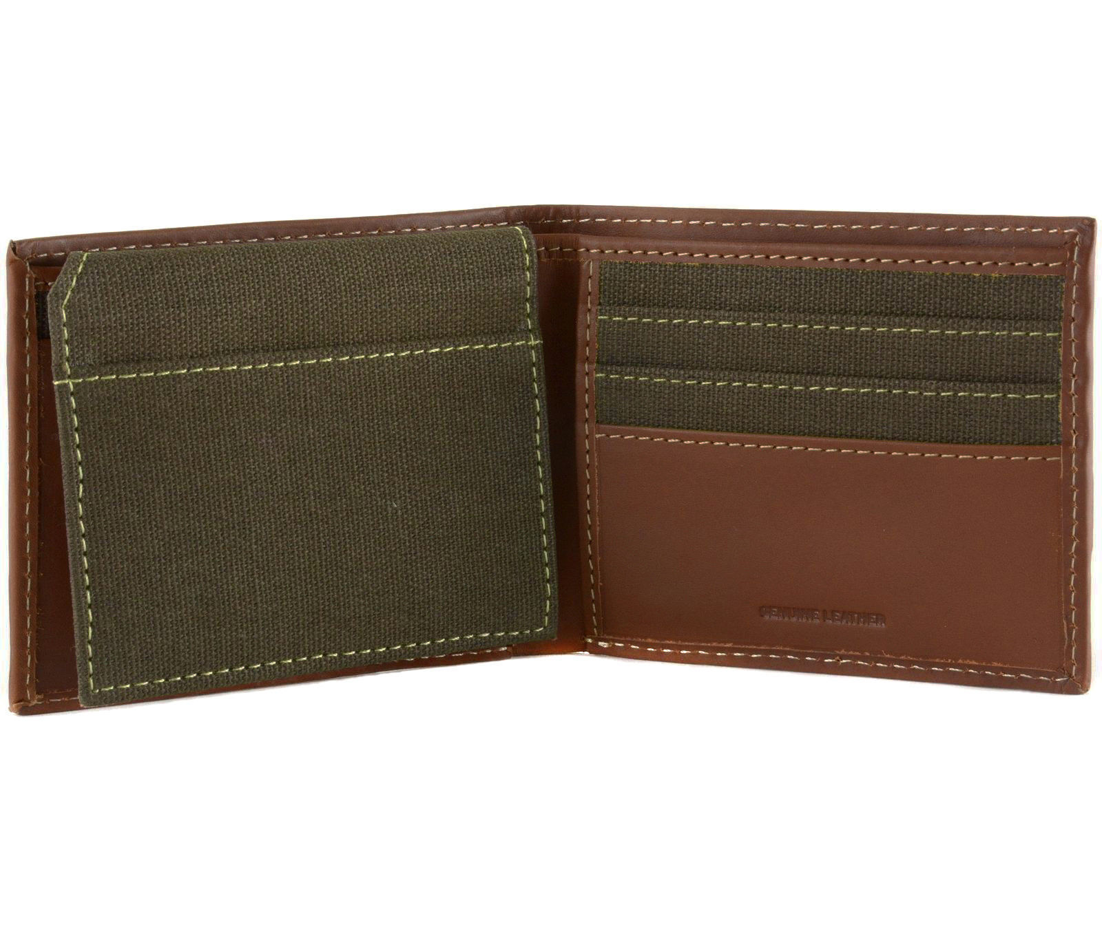 Timberland Men's Hunter Leather Canvas Credit Card ID Wallet NEW WITH DEFECTS