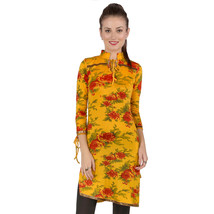 Ira Soleil yellow floral all over printed viscose knitted stretchable 3 ... - $49.99