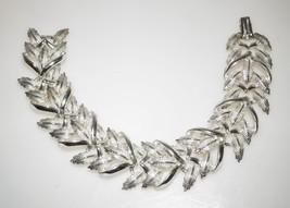 "Chunky Vintage Signed Coro Silver Tone Filgree Leaf Chain Links 7"" Bracelet - $16.25"