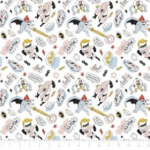 Disney The Incredibles Sketchy White Camelot 100% cotton fabric by the yard - $10.23