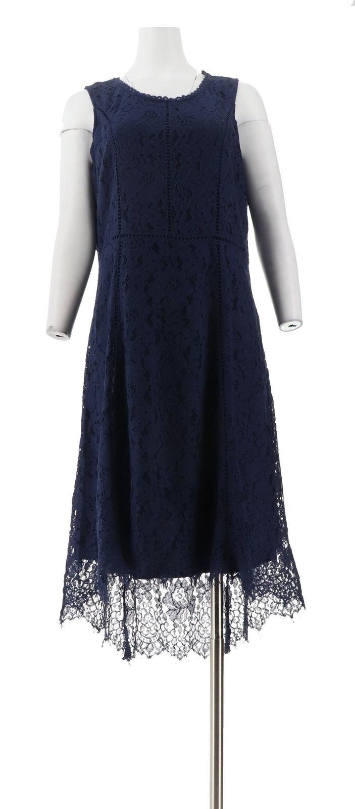 Isaac Mizrahi Petite Hi-Low Lace Maxi Dress Dark Navy PM NEW A303179
