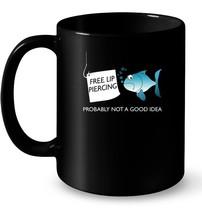 Funny Fishing Ceramic Mug  Free Lip Piercing for Women Men - $13.99+