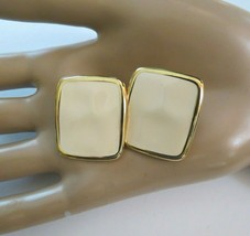 "Monet Clip Earrings Luxury Cream Enamel Gold Tone 1"" High Rectangular Hammered - $17.81"