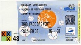 France 1998 ticket #1 group match match Croatia v Argentina 0-1 World Cup - $45.00