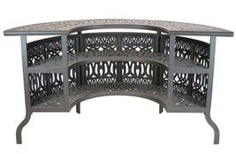 8 piece patio cast aluminum party bar and swivel bistro set with Sunbrella seats image 2