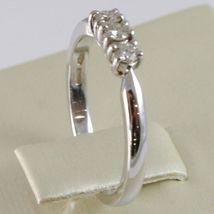 White Gold Ring 750 18K, Trilogy 3 Diamonds Carat Total 0.20, Shank Square image 3